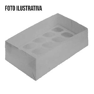 Caixa para Transporte 15 Mini Cupcakes (30cm x 18cm x 8cm) Kraft 5 unidades Assk Rizzo Confeitaria