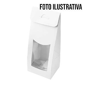 Caixa Sacolinha com Visor P (7,5cm x 19m x 6cm) Prata 10 unidades Assk Rizzo Confeitaria