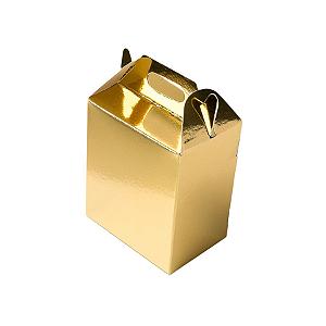 Caixa Sacolinha S1 (9,5cm x 6,5cm x 4,5cm) Dourada 10 unidades Assk Rizzo Confeitaria