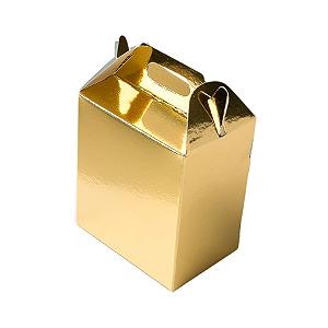 Caixa Sacolinha S2 (14cm x 11cm x 6cm) Dourada 10 unidades Assk Rizzo Confeitaria
