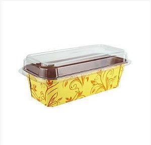 Forma Forneável para Bolo Inglês Amarela Com Tampa 5 unidades - Plumpy Ecopack - Rizzo Confeitaria