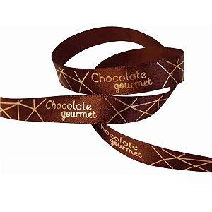 Fita de Páscoa em Cetim 15mmx10m Chocolate Gourmet Marrom com Ouro ECF003H 341 Progresso Rizzo Confeitaria
