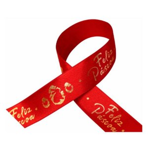 Fita de Cetim para Decoração de Páscoa 22mmx10m Coelho Feliz Páscoa Vermelho com Ouro ECF005H 704 Progresso Rizzo Confeitaria