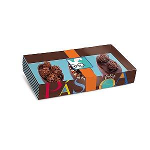 Caixa Três Meio Ovo de Colher 50g New Practice Páscoa Cores - 6 unidades - 21,5cmx11cmx4cm - Cromus Páscoa - Rizzo Confeitaria