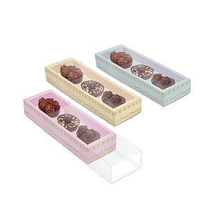 Caixa Luva para Três Meio Ovos de Colher 50g Royalle Sortido - 6 unidades - 26,5cmx7,5cmx3,5cm - Cromus Páscoa - Rizzo Confeitaria