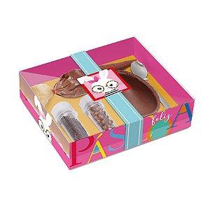 Caixa Kit Confeiteiro para Ovo 100g Páscoa Cores Rosa - 19,5cmx17cmx5cm - Cromus Páscoa - Rizzo Confeitaria