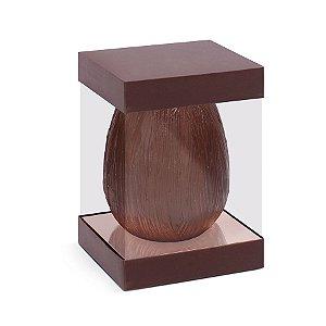 Caixa para Ovo em Pé com Visor e Berço 500g Marrom com Rosê Gold - 6 unidades - 13,5x13,5x18,5cm - Cromus Páscoa - Rizzo Confeitaria