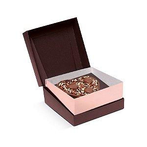 Caixa Specialla para Meio Ovo Coração 200g 13x13x6,5cm Rosê Gold e Marrom - 06 unidades - Cromus Páscoa