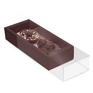 Caixa Luva para Dois Meio Ovos Páscoa Marrom com Rosê Gold - 6 unidades - 18,5x7,5x3,5cm - Cromus Páscoa - Rizzo Confeitaria