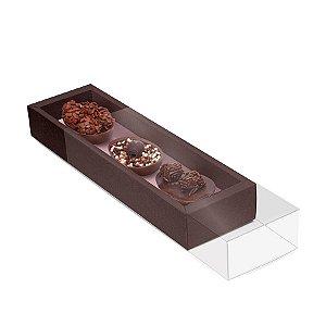 Caixa Luva para Três Meio Ovos Páscoa Marrom com Rosê Gold - 6 unidades - 26,5x7,5x3,5cm - Cromus Páscoa - Rizzo Confeitaria