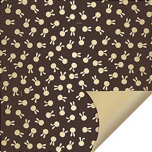 Folha para Embalar Ovos de Páscoa Double Face Coelhinhos Ouro 69x89cm - 05 unidades - Cromus Páscoa - Rizzo Confeitaria
