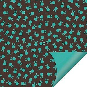Folha para Embalar Ovos de Páscoa Double Face Coelhinhos Turquesa 69x89cm - 05 unidades - Cromus Páscoa - Rizzo Confeitaria