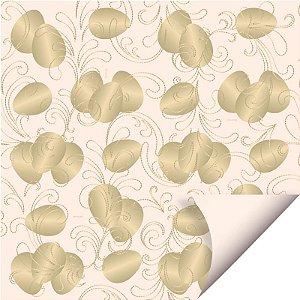 Folha para Embalar Ovos de Páscoa Double Face Ovos de Ouro Marfim 69x89cm - 05 unidades - Cromus Páscoa - Rizzo Confeitaria