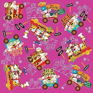 Folha para Embalar Ovos de Páscoa Metalizado Food Truck Pink 69x89cm - 05 unidades - Cromus Páscoa - Rizzo Confeitaria