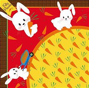 Saco Express para Ovos de 100g a 150g  - 24cm x 24cm - Hora da Cenoura Vermelho - 05 unidades - Cromus Páscoa - Rizzo Confeitaria