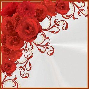 Saco Express para Ovos de Coração de - 250g a 350g  - 37,5cm x 37,5cm - Rosas Vermelhas - 05 unidades - Cromus Páscoa - Rizzo Confeitaria
