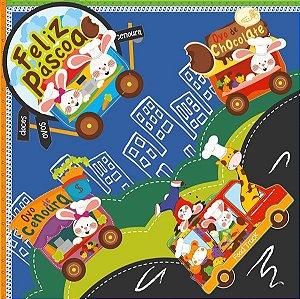 Saco Express para Ovos de 350g a 500g  - 39cm x 39cm - Food Truck Azul - 05 unidades - Cromus Páscoa - Rizzo Confeitaria