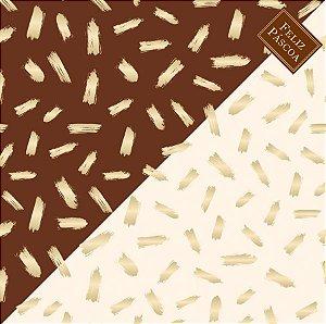 Saco Express para Ovos de 750g a 1Kg  - 49cm x 49cm - Pinceladas Marrom Marfim - 05 unidades - Cromus Páscoa - Rizzo Confeitaria