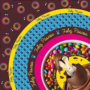 Saco Express para Ovos de 750g a 1Kg  - 49cm x 49cm - Surpresa - 05 unidades - Cromus Páscoa - Rizzo Confeitaria