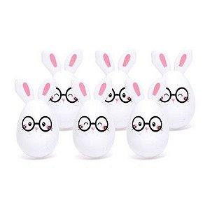 Mini Ovos de Plástico Coelho de Óculos - 6 unidades - 5x5x7cm - Cromus Páscoa - Rizzo Embalagens