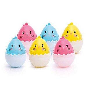Mini Ovos de Plástico Colorido Sortido - 6 unidades - 5x5x7cm - Cromus Páscoa - Rizzo Confeitaria