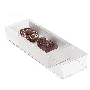 Caixa Luva Dois Meio Ovos Páscoa Branco - 10 unidades - 18,5x7,5x3,5cm - Cromus Profissional - Rizzo Confeitaria