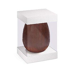 Caixa Ovo em Pé com Visor e Berço 500g Branco - 10 unidades - 13,5x13,5x18,5cm - Cromus Profissional - Rizzo Confeitaria