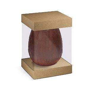 Caixa Ovo em Pé com Visor e Berço 500g Kraft - 10 unidades - 13,5x13,5x18,5cm - Cromus Profissional - Rizzo Confeitaria