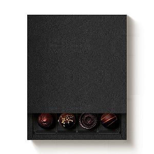 Caixa 16 Doces Quadrada Preto com Luva - 10 unidades - 16,8x16,8x4cm - Cromus Profissional - Rizzo Confeitaria