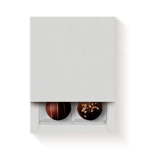 Caixa 4 Doces Quadrada Branco com Luva - 10 unidades - 9,5x9,5x4cm - Cromus Profissional - Rizzo Confeitaria