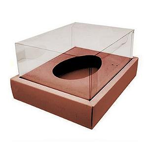 Caixa Ovo de Colher com Moldura - Meio Ovo de 250g - 20cm x 15,5cm x 10cm - Rosê - 5 unidades - Assk - Páscoa Rizzo Confeitaria