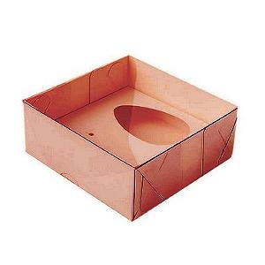 Caixa Ovo de Colher - Meio Ovo de 50g - 10cm x 10cm x 4cm - Rosê - 5unidades - Assk - Páscoa Rizzo Confeitaria