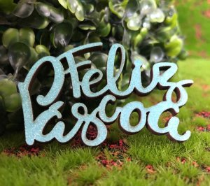 Aplique Feliz Pascoa em MDF Glitter Azul Claro - Sonho Fino Rizzo Confeitaria