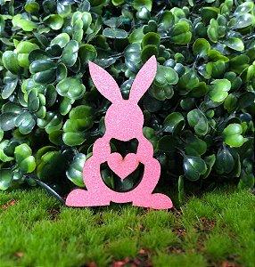 Aplique Coelhinhos em MDF Glitter Rosa Claro - Sonho Fino - Rizzo Confeitaria