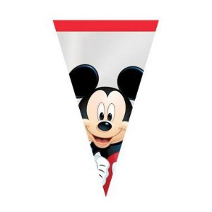 Cone Festa Mickey 18x30cm - 50 unidades - Cromus Páscoa Disney - Rizzo Confeitaria