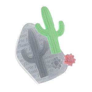 Molde de Silicone Cacto Médio + Florzinha Ref. 465 Flexarte Rizzo Confeitaria