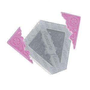 Molde de Silicone Par de Cantoneiras Pequenas  Ref. 433 Flexarte Rizzo Confeitaria