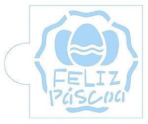 Stencil Ovos Feliz Páscoa SC2-044 Litoarte Rizzo Confeitaria