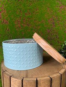 Lata Texturizada Azul G 13,5cm x 8cm - 01 unidade - Rizzo Confeitaria
