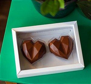 Caixa  coração Lapidado de 70 à 100gr  2  cav Branco com 5 un. Crystal Rizzo Confeitaria