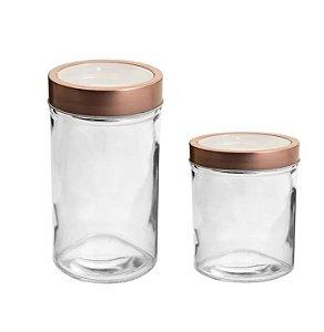 Pote de Vidro Redondo Tampa Vazada Rosê Gold - 350ml ou 500ml - 01 unidade - Rizzo Confeitaria
