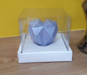 Caixa de Coração em pé 250gr 15x15x13 Branco - 05 un - Assk Rizzo Confeitaria