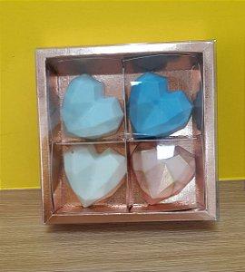 Caixa  4 pão de mel Rose 13,2x13,2x4  6,2x19x4  5 un - Assk Rizzo Confeitaria