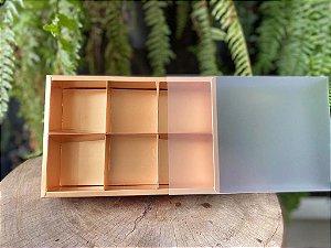 Caixa Pão de Mel Ouro Fosco 23x15,5x5cm com 6 divisões - 01 unidade - Rizzo Confeitaria