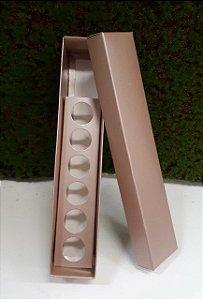 Caixa Bombom Flor N6 Rose Metalizada c/ 10 unidades