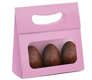 Mini Caixa Plus para Ovos com Visor Páscoa Rosa - 10 unidades - 13x5,5x13cm - Cromus Profissional - Rizzo Confeitaria