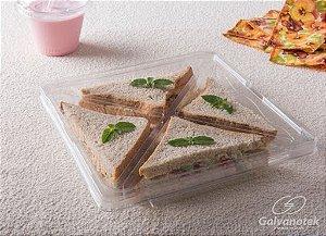 Petisqueira de Plástico Quadrada - Com Divisórias e Tampa - Galvanotek - Rizzo Confeitaria