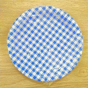 Prato de Papel Xadrez Azul Escuro -18 cm - Festa Junina - 08 unidades - Kaixote - Rizzo