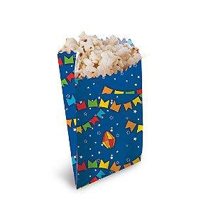 Saquinho para Pipoca e Hot Dog Azul - 8 cm x 10 cm - Festa Junina - 50 unidades - Cromus - Rizzo Festas