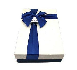 Caixa de Papel para Presente Base Azul / Tampa Branca - 21 cm x 29 x 6 cm - 1 Unidade - Rizzo Confeitaria